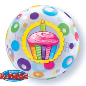 """""""Happy Birthday"""" Cupcake & Dots Bubble Balloon 22"""""""
