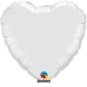 "18"" White Heart Shaped Foil Balloon"