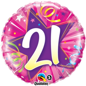 21st Birthday Shining Star Hot Pink Foil Balloon