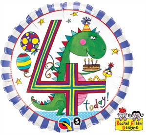 "Rachel Ellen 18"" 4th Birthday Dinosaur Balloon"