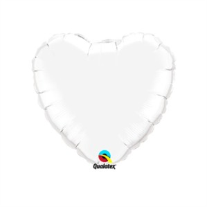 "White 9"" Heart Foil Balloon"