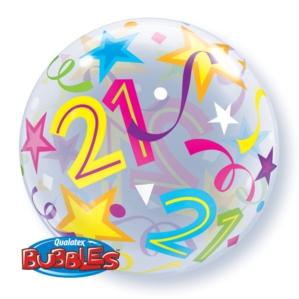 """Age 21 Brilliant Stars Bubble Balloon 22"""""""