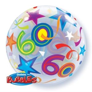 "60th Birthday Brilliant Stars Bubble Balloon 22"""