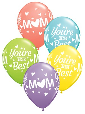 "Mum You're The Best Sorbet Assorted 11"" Latex Balloons 50pk"