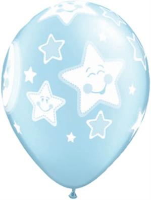 "Pearl Blue Moon and Stars 11"" Latex Balloons 25pk"