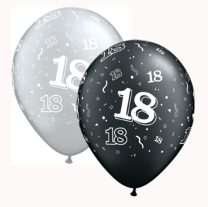 "Black & Silver Age 18 Latex 11"" Balloons 25pk"