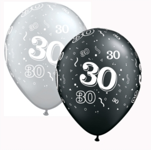 "Black & Silver Age 30 11"" Latex Balloons 25pk"
