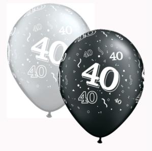 "Black & Silver Age 40 Latex 11"" Balloons 25pk"