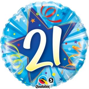 21st Birthday Shining Star Bright Blue Foil Balloon