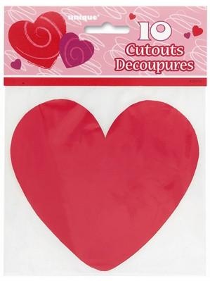 Valentine's Mini Red Heart Cut Outs 10pk
