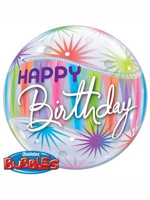 "Happy Birthday Sorbet Starblast Bubble Balloon 22"""