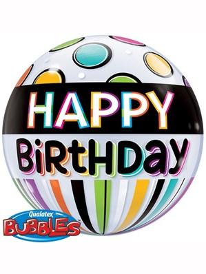 """Happy Birthday Stripes & Dots Bubble Balloon 22"""""""