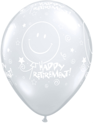"Clear ""Happy Retirement"" 11"" Latex Balloons 25pk"