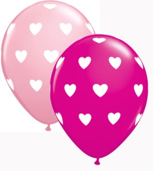 "Assorted Big Hearts 11"" Latex Balloons 25pk"
