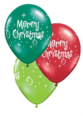 "Merry Christmas Ornaments 11"" Latex Balloons 25pk"