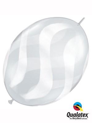 "Diamond Clear Wavy Stripes 12"" Latex Quick Link Balloons 50pk"