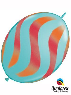 "Orange & Red Wavy Stripes 12"" Blue Quick Link Latex Balloons 50pk"