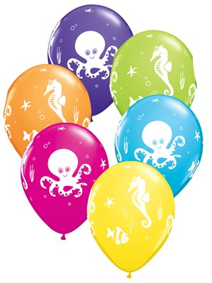 "11"" Assorted Octopus and Friends Latex Balloons - 25pk"