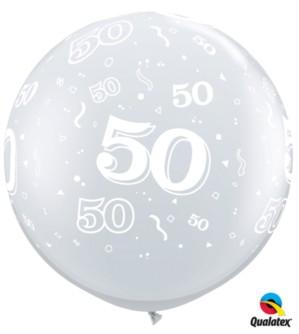 Giant Diamond Clear Age 50 3ft Latex Balloons - 2pk