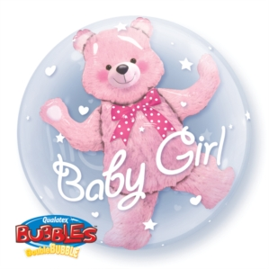 Baby Pink Bear Double Bubble Balloon 24""