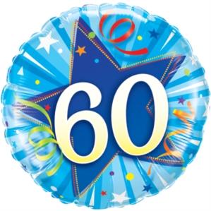 "60th Birthday Shining Star Blue 18"" Foil Balloon"