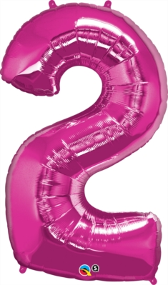 "Number 2 Giant Foil Balloon - Magenta 34"""