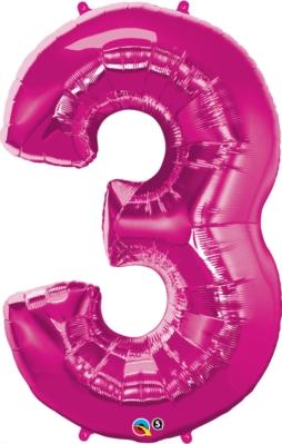 "Number 3 Giant Foil Balloon - Magenta 34"""