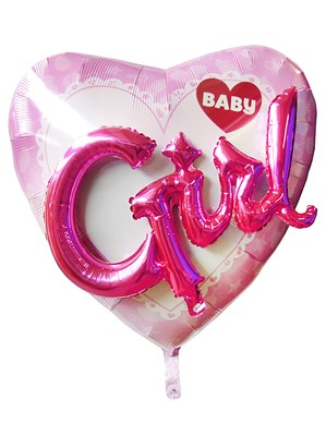 "Baby Girl 3D Heart 32"" Supershape Foil Balloon"