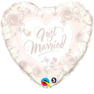 """18"""" Just Married Ivory Foil Heart Balloon"""