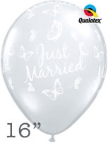 "Diamond Clear Just Married Butterflies 16"" Latex Balloons 50pk"