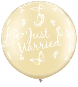 "Just Married Giant Pearl Ivory Latex 30"" Balloons 2pk"