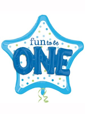 """Fun to be One Blue Star 36"""" Supershape Foil Balloon"""
