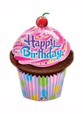"Happy Birthday Cupcake Foil Balloon 14"""