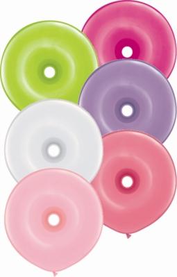"""16"""" Flower Assortment GEO Donut Latex Balloons 50pk"""