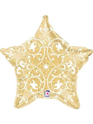 "Gold Holographic Filigree Star 21"" Foil Balloon"