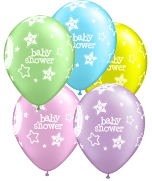 """Pastel Assorted Baby Shower Moons & Stars 11"""" Latex Balloons 6pk"""