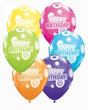 Happy Birthday Dots Latex Balloons 25pk