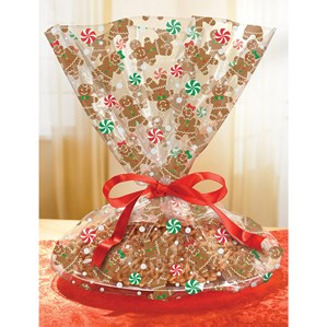 Christmas Gingerbread Cookie Tray Cello Bags 6pk