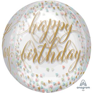 Happy Birthday Confetti Fun Orbz Balloon