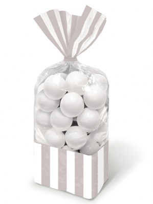 Silver Candy Buffet Striped Party Bags 10pk
