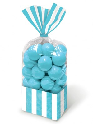 Caribbean Blue Candy Buffet Striped Party Bags 10pk