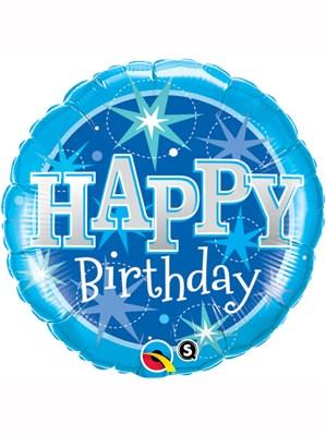 "Blue Happy Birthday Sparkle 18"" Foil Balloon"
