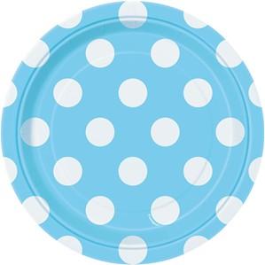 "Light Powder Blue Dots 7"" Round Paper Plates 8pk"