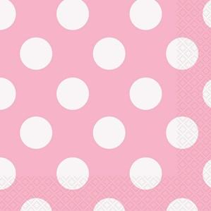 Lovely Light Pink Dots Luncheon Napkins 16pk