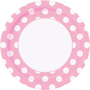 """Lovely Light Pink Dots 9"""" Round Paper Plates 8pk"""