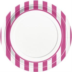 "Pink Stripes 9"" Round Paper Plates 8pk"