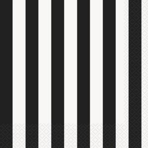 Black Stripes Luncheon Napkins - 16pk