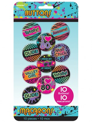 Totally 80s Badges 10pk