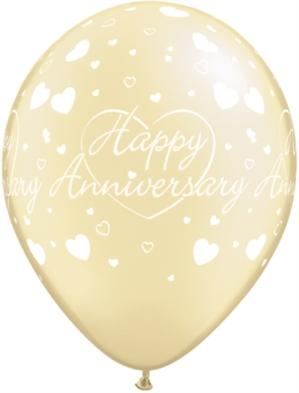 """Pearl Ivory Happy Anniversary 11"""" Latex Balloons 25pk"""