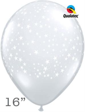 "Diamond Clear Stars 16"" Latex Balloons 50pk"
